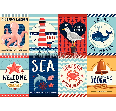 set of nautical colorful banners and