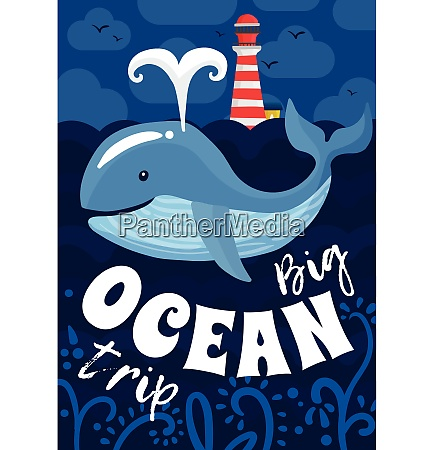 ocean trip poster with lighthouse flying