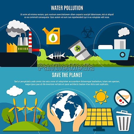 ecology and pollution horizontal banners set