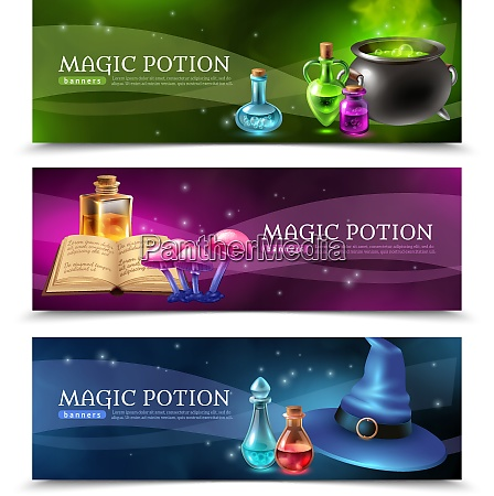 horizontal realistic colorful banners set with