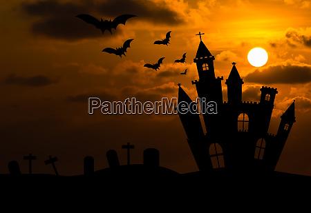 castle silhouette in halloween night