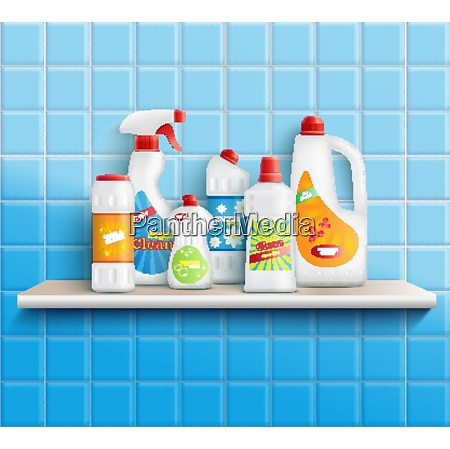 composition of realistic detergent bottles on