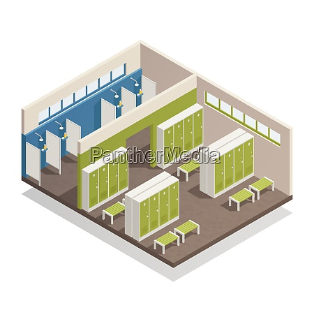 swimming pool house changing locker room