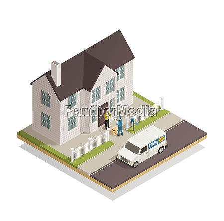 postal parcels delivery service isometric composition