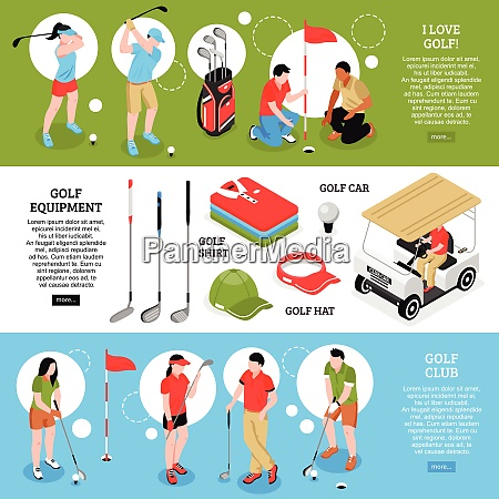 golf isometric horizontal banners set with