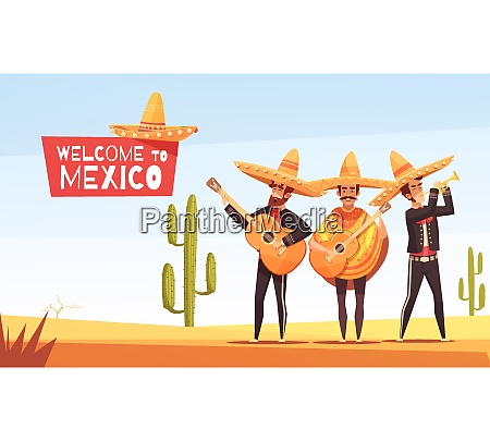 mexican musicians vector illustration with three