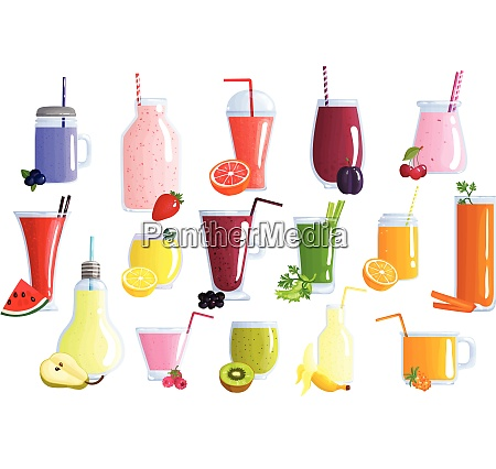 appetizing healthy colorful fruit smoothies icons