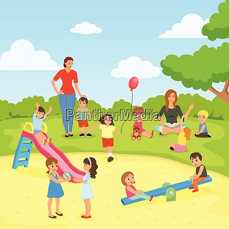 babysitters with kids flat composition including