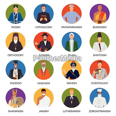 set of flat avatars of people
