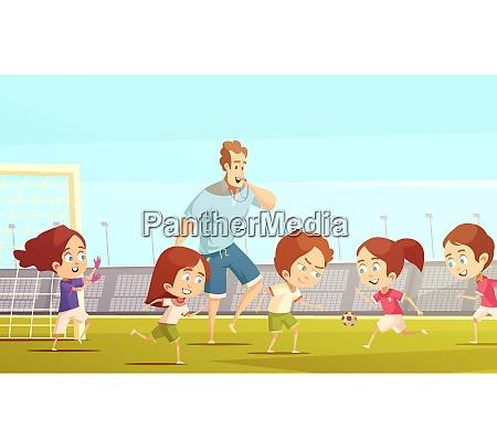 kids sport cartoon vector illustration with