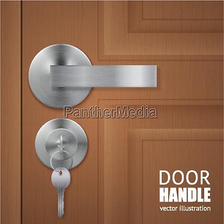 realistic door handle lock keys composition