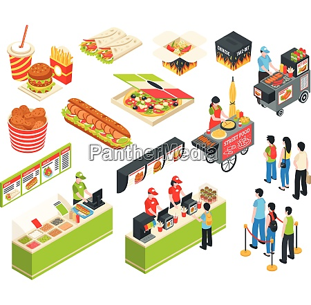fast food cart cafe restaurant isometric
