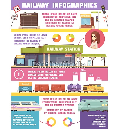 railway infographics flat template with