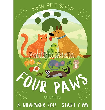 pet shop advertising poster with paw