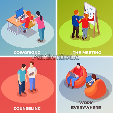 coworking people isometric 2x2 design concept