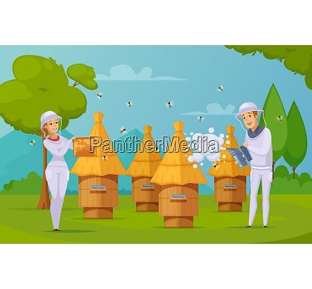 bee farm apiary honey harvesting cartoon