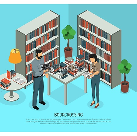 isometric bookcrossing composition with public library