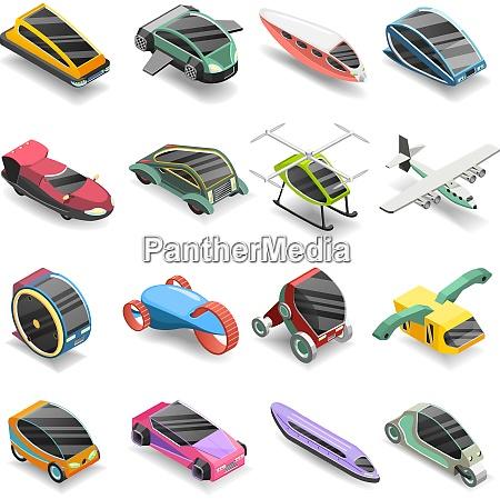 future transport isometric icons set of