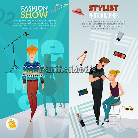 fashion show vertical banners with guy