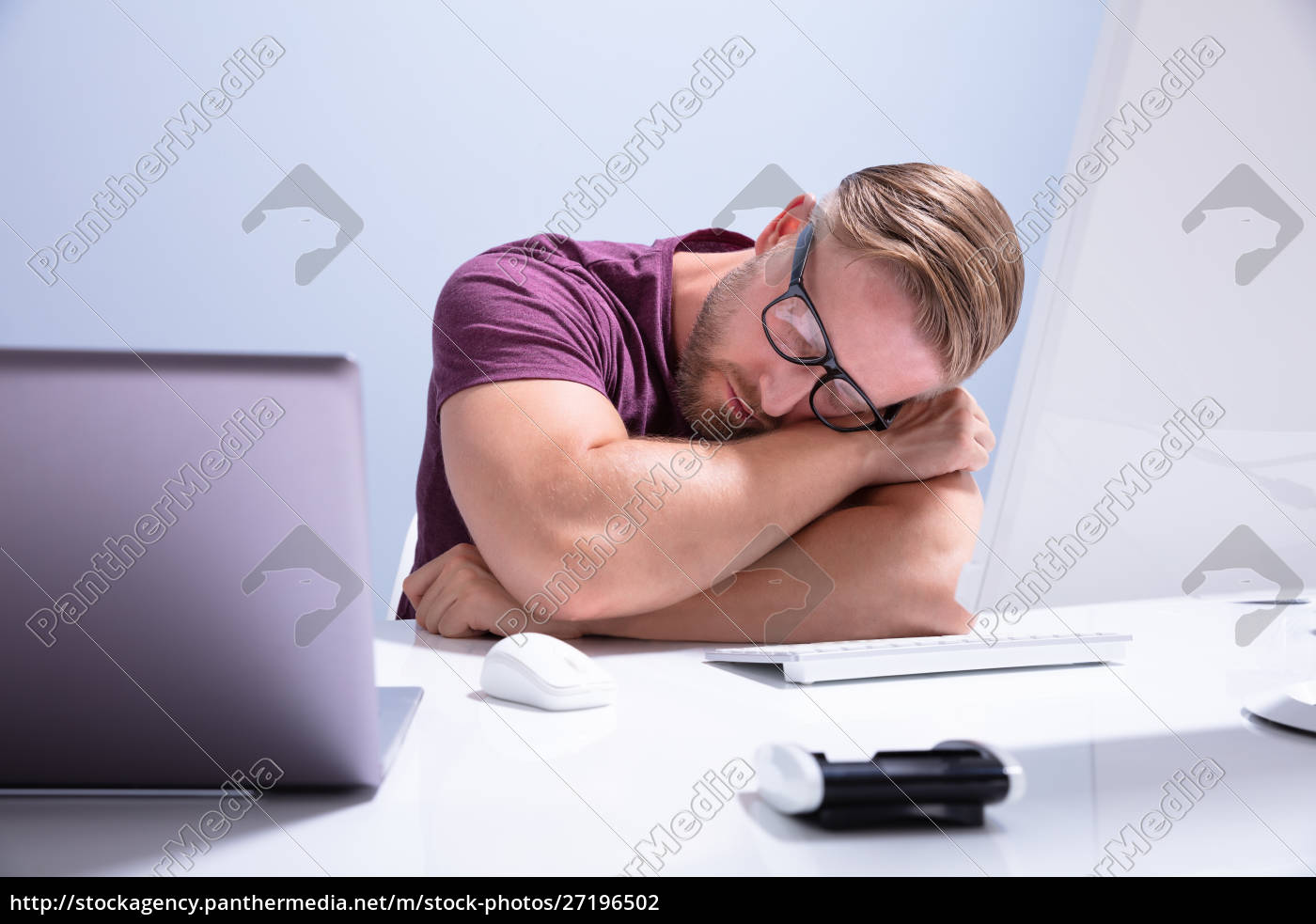 exhausted, businessman, sleeping, on, desk - 27196502