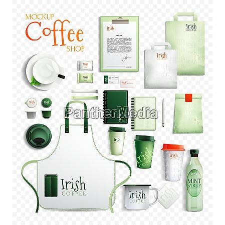 mockup coffee shop design essentials set