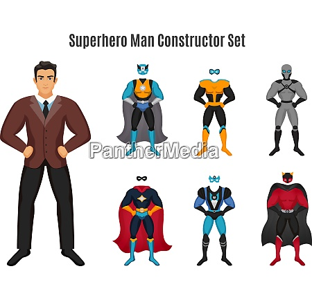 superhero constructor set with man in