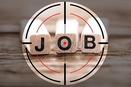 close up of a job word