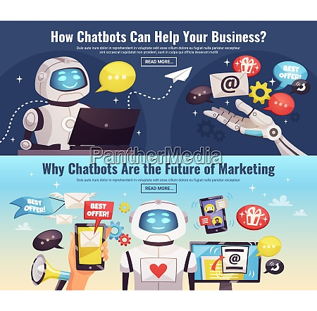 chatbot horizontal banners with information about