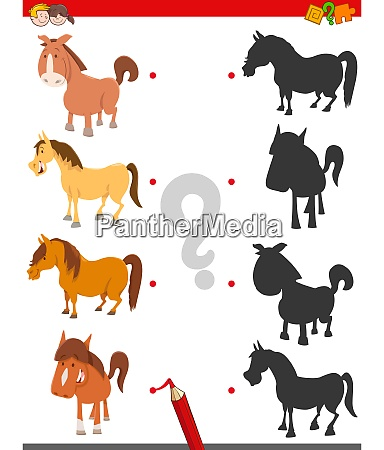 shadow game with cute horse characters