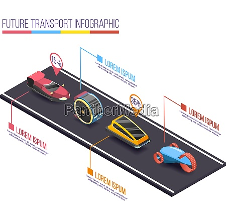 future transport isometric infographic composition with