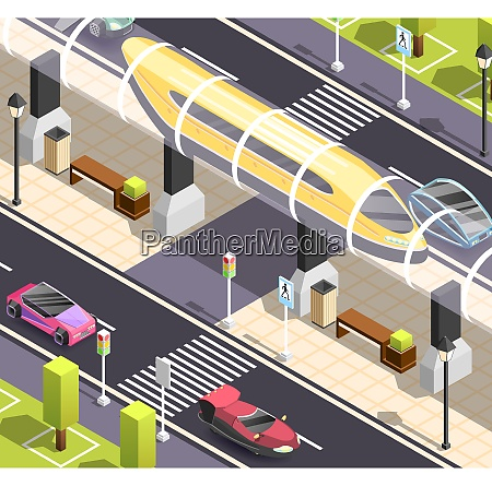 futuristic city constructor isometric background with