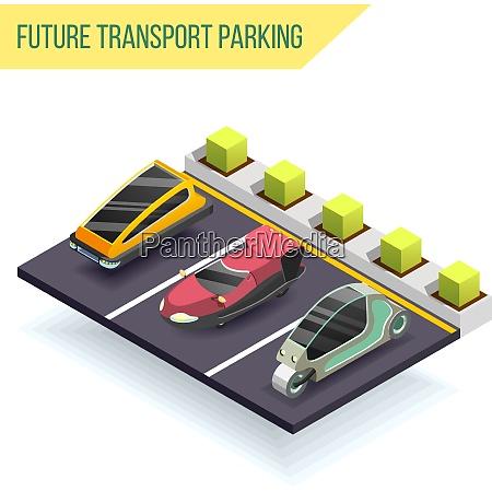 future transport parking isometric design concept