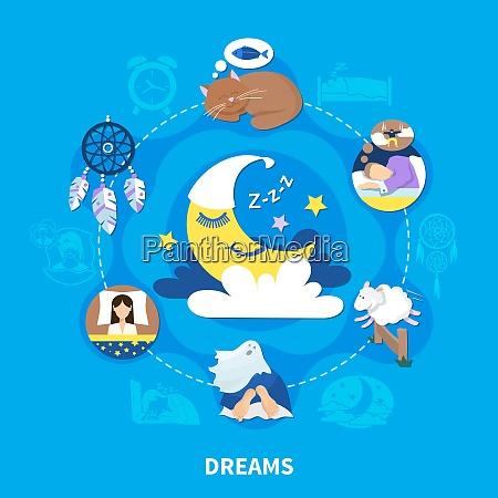 night dreams flat symbols circle composition