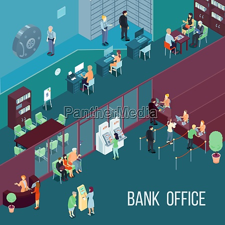 bank office isometric vector illustration