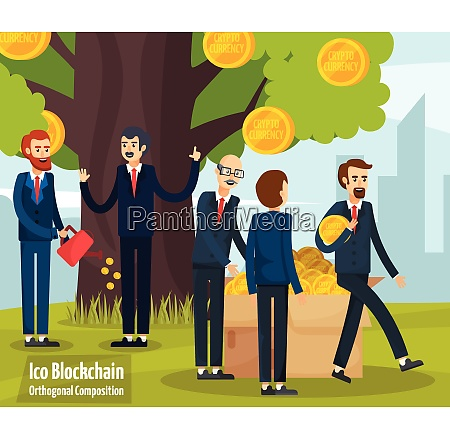 initial coin offering cartoon composition with
