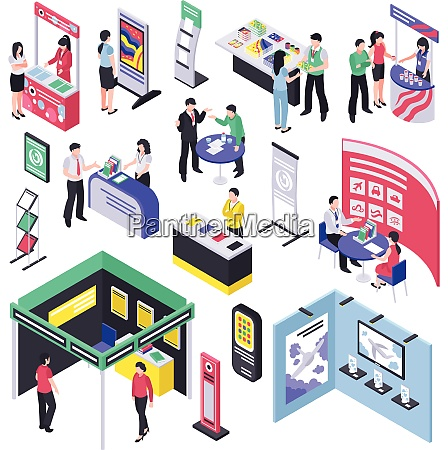 isometric expo stand trade show exhibition