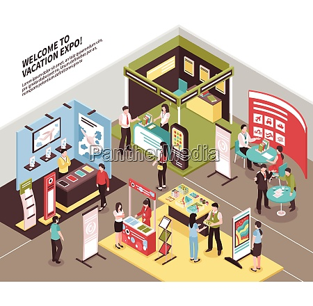 isometric expo stand exhibition illustration with
