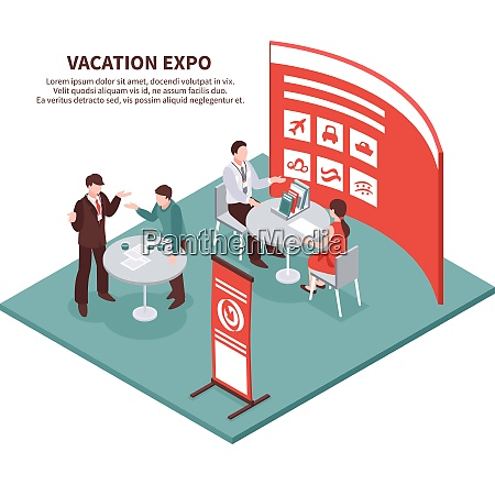 isometric expo stand exhibition conceptual composition