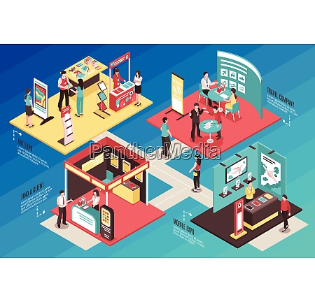 isometric expo stand exhibition horizontal composition
