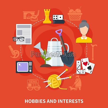 flat colored hobbies and interests of