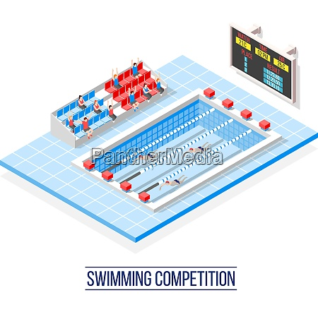 swimming competition isometric composition with sportsmen
