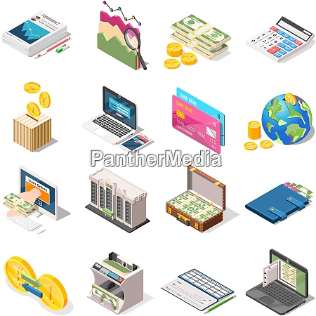 accounting set of isometric icons with