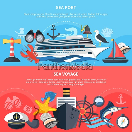 sea voyage horizontal banners set with