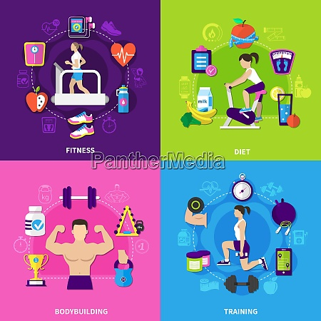 fitness flat design concept with exercise