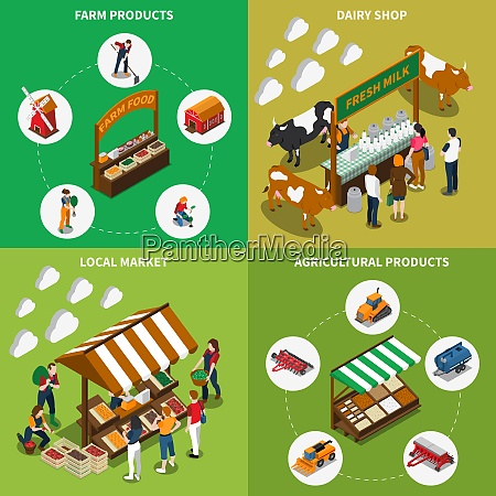 farm local market isometric 2x2 composition