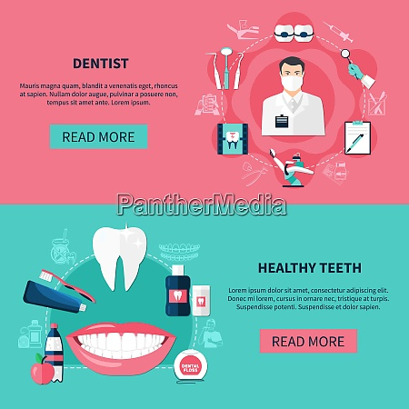 dentistry horizontal banners with dentist tools