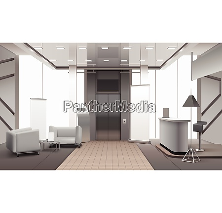 realistic grey color lobby interior with