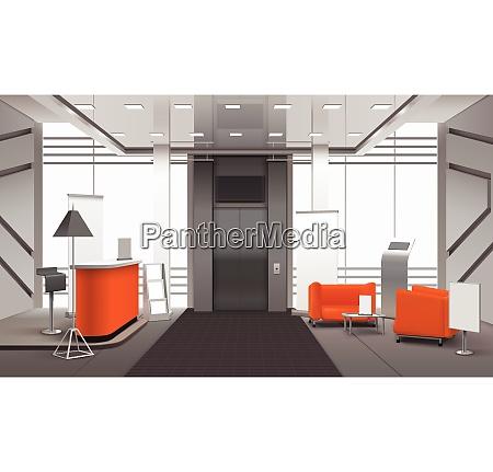 realistic lobby interior in orange grey
