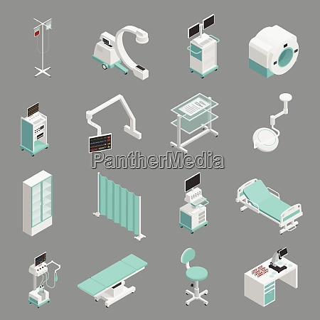 hospital medical equipment isometric icons collection