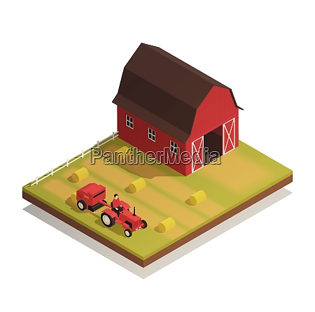 agricultural farm harvesting machinery with hay